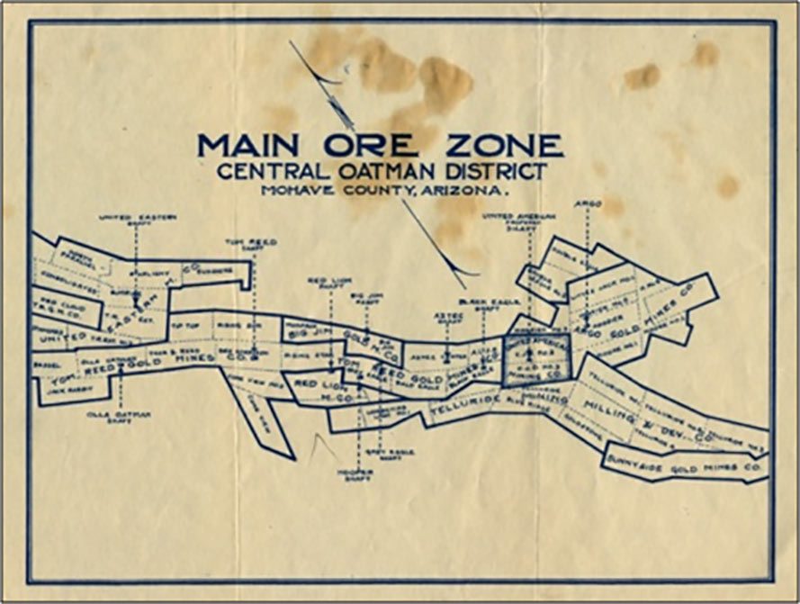 Map Of Arizona Mines.Goldroad And The Oatman Mining District